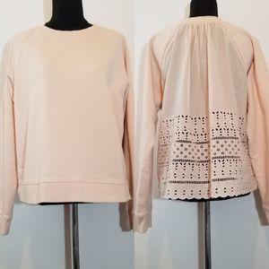 J. Crew Pink Blush Eyelet Embroidered Sweater Top